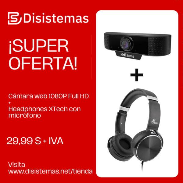 Cámara web 1080P Full HD + Headphones XTech con micrófono